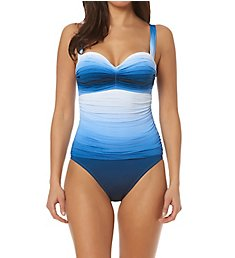 Bleu Rod Beattie Hola Ombre Shirred Underwire One Piece Swimsuit H18248
