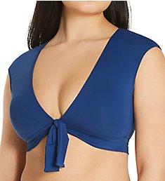 Bleu Rod Beattie Kore Tie Front Cap Sleeve Crop Swim Top K21199