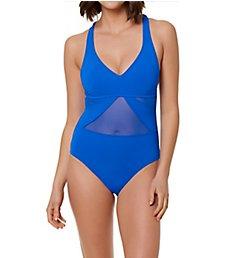 Bleu Rod Beattie Don't Mesh With Me V-Neck Mesh One Piece Swimsuit M19245