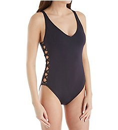 Bleu Rod Beattie Oh So Knotty Lace Down Mio One Piece Swimsuit N18297