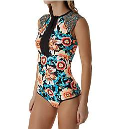 Body Glove Ambrosia Go West Cap Sleeve One Piece Swimsuit 443762