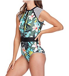 Body Glove Oahu Zip Front Cap Sleeve One Piece Swimsuit 476762