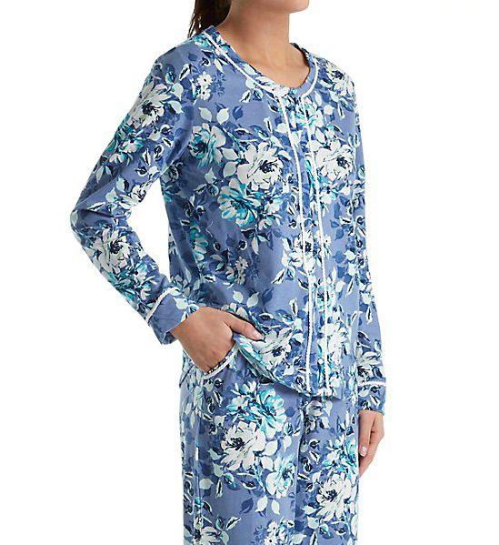Carole Hochman Blue Floral Long Pajama Set 1891271