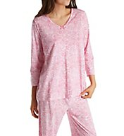 Carole Hochman Knit 3/4 Sleeve Long Pant PJ Set 1891424