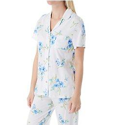 Carole Hochman Aqua Floral Cotton Short Sleeve Capri PJ Set CH91903