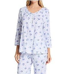 Carole Hochman 100% Cotton V-Neck 3/4 Sleeve PJ Set CH92203