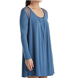 Carole Hochman Midnight Midnight Storm Long Sleeve Sleepshirt with Lace 1331259
