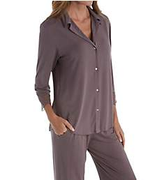 Carole Hochman Midnight Delicate Bouquet Sleeve Button Front Long PJ Set MD91602