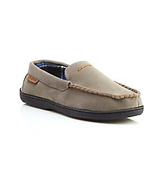 Dearfoams Jason Leather Inspired Moccasin w/ Plaid Lining 30822