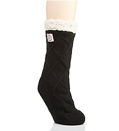 Dearfoams Lattice Cable Knit Blizzard Slipper Sock 75004