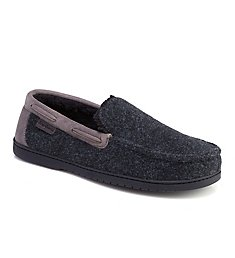 Dearfoams Mixed Material Moccasin Slipper With Memory Foam 80376