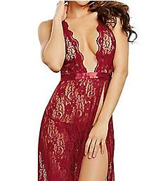 Dreamgirl Scalloped Lace Halter Gown with Thong Set 10460