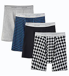Fruit Of The Loom Extended Size Print Cotton Boxer Briefs - 4 Pack 4BB77PX
