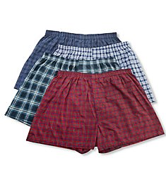 Fruit Of The Loom Extended Size Tartan Plaid Woven Boxers - 4 Pack 4P59XTG