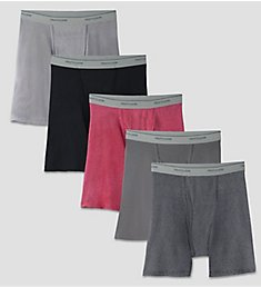 Fruit Of The Loom Core Stripe Cotton Boxer Briefs - 5 Pack 5BB4619