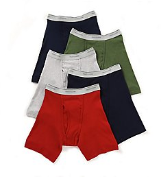 Fruit Of The Loom Mens Core 100% Cotton Assort Boxer Briefs - 5 Pack 5BB761C