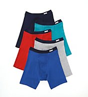 Fruit Of The Loom Assorted 100% Cotton Knit Boxer Briefs - 5 Pack 5CBB001