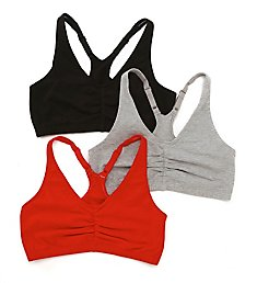 Fruit Of The Loom Shirred Front Racerback Sports Bra - 3 Pack 90011