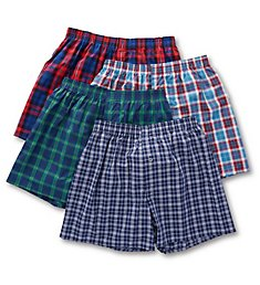 Fruit Of The Loom Premium Tartan Woven Boxers - 4 Pack JC4P591