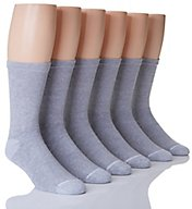 Hanes Classic Cotton Black Crew Socks - 6 Pack CL85