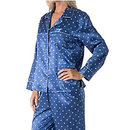 KayAnna Dots 'n Stripes Brushed Back Satin PJ Set B15186