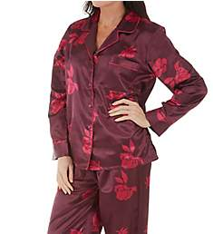 KayAnna Floral Brushed Back Satin Pajama Set B15280