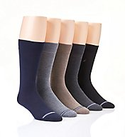 Nautica Solid Flat Knit Dress Crew Socks - 5 Pack 163DR02