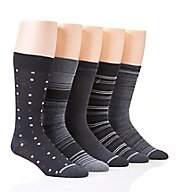 Nautica Fashion Stripe Flat Knit Dress Socks - 5 Pack 163DR05