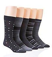 Nautica Fashion Stripe Flat Knit Dress Socks - 5 Pack 163DR05