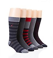 Nautica Medium Stripe Flat Knit Dress Crew Socks - 5 Pack 163DR11
