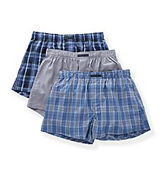 Perry Ellis 100% Pure Cotton Woven Boxers - 3 Pack 879634