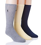 Polo Ralph Lauren Cushioned Foot Ribbed Crew Sock - 3 Pack 8428PK