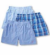 Polo Ralph Lauren Classic Fit 100% Cotton Woven Boxers - 3 Pack LCWBP3