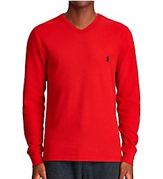 Polo Ralph Lauren Waffle-Knit Long Sleeve V-Neck Shirt PWLVFR