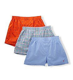 Polo Ralph Lauren Classic Fit Cotton Woven Boxers - 3 Pack RCWBS3