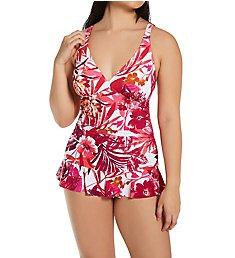 Profile by Gottex Escape In Bali V Neck One Piece Swim Dress B2D05