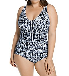 Profile by Gottex Plus Size Nomad V Neck One Piece Swimsuit N2W81