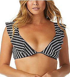 Raisins Del Mar Stripe Palisades Ruffle Bikini Swim Top A711803