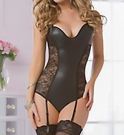 Seven 'til Midnight Lace & Lame Teddy with Garters 10585