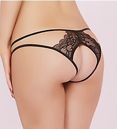 Seven 'til Midnight Floral Lace Galloon Open Back Panty 10607