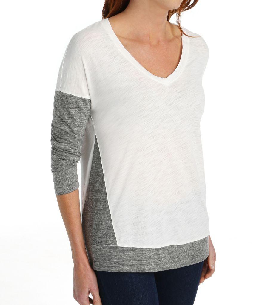 Splendid Slub Heather Grey Jersey Mix Long Sleeve V-Neck ST9977