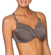 Swim Systems Solid Shirred Underwire Swim Top A794