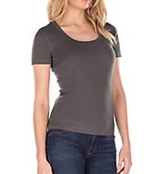 Three Dots 1X1 Short Sleeve Scoop Neck Tee AA1S004