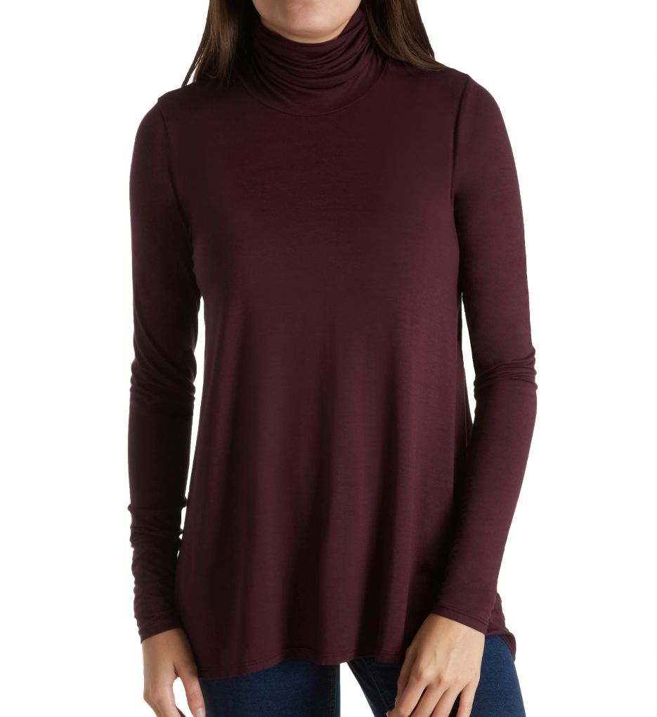 Three Dots Refined Jersey Long Sleeve High Low Turtleneck LD2172